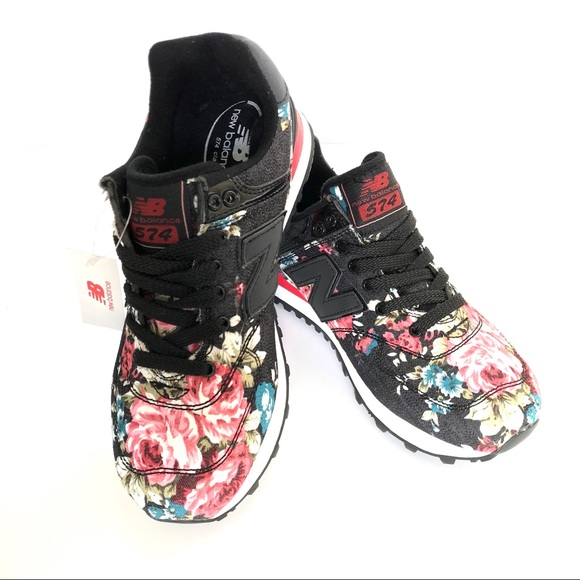 low priced 453bd bb267 New Balance 574 Womens Sneakers Black Floral *Rare NWT
